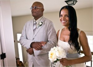 Samuel L. Jackson gives away bride Victoria Rowell Photo: New York Times/Bob Lapree