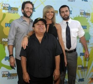 """Always Sunny In Philadelphia"" Cast: Left to right, Glenn Howerton, Danny DeVito, Kaitlin Olson and Rob McElhenney. Chris Pizzello / AP Photo"