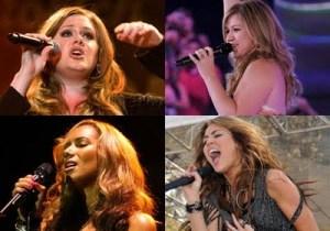 Clockwise: Kelly Clarkson, Jordan Sparks, Leona Lewis, Shania Twain