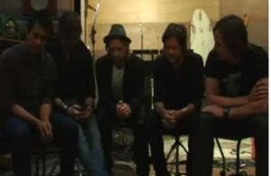 Switchfoot band members (L-R): Drew Shirley, Jerome Fontamillas, Jon Foreman, Tim Foreman and Chad Butler chat live with fans from their San Diego Studio. (Photo/Ustream)